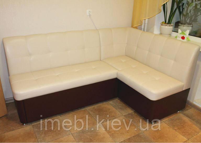 Мягкий кухонный уголок со спальным местом (Молочно-коричневый кож заменитель)