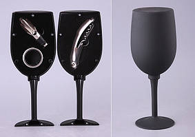 "Набор для вина ""Бокал"" 3 предмета (кольцо на бутылку, штопор, дозатор) 752-001"