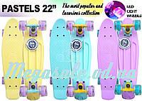 """Cкейт пенни борд Fish (Penny Board) пенни Pastels Siries """"Пастельные оттенки"""": светящиеся колеса, 3 цвета"""