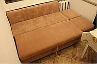 Мягкая лавка кровать с пуфиком в ткани антикоготь.