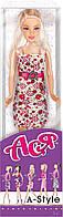 А-Стиль, Набор с куклой 28 см, блондинка в цветочном платье, Ася