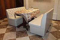 Мягкие диванчики на кухню с нишами белого цвета., фото 1