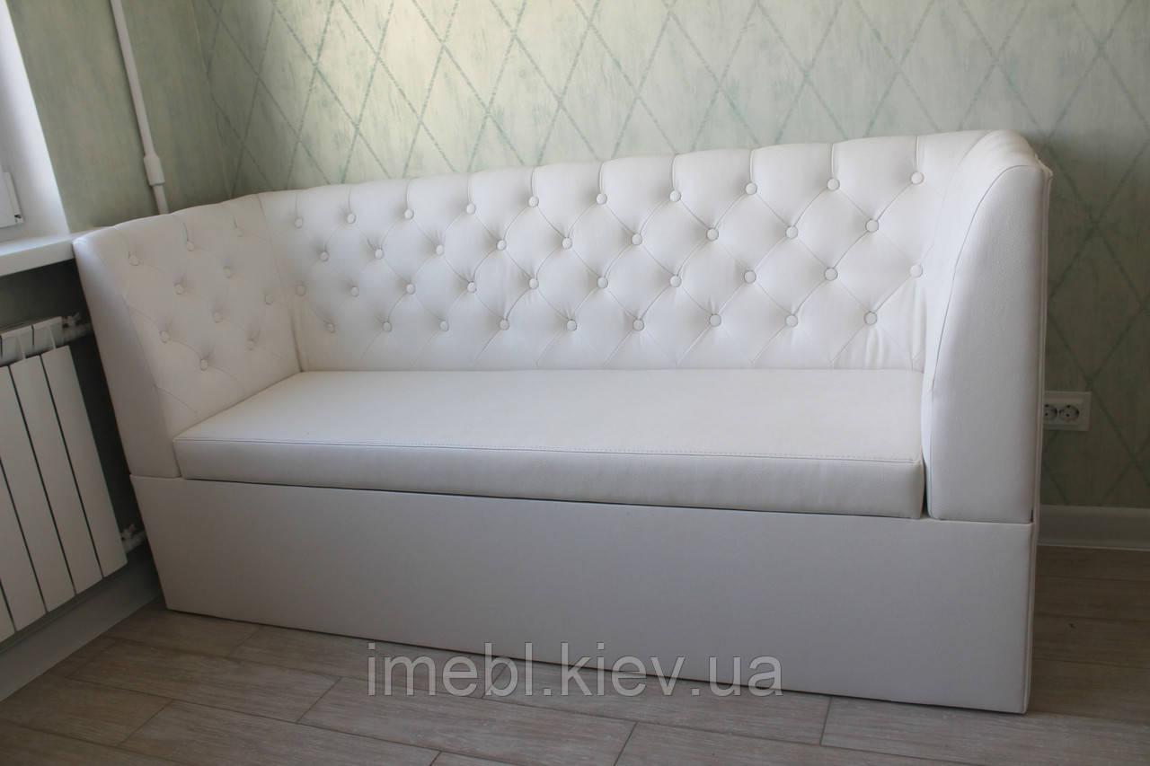 Диван для кухні з містким ящиком в замінники шкіри (Білий)