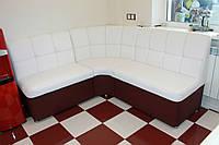 Уголок мягкий кухонный с ящиками (бело-бордовый)