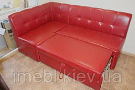 Кухонный раскладной уголок в недорогом кожзаме (Красный)