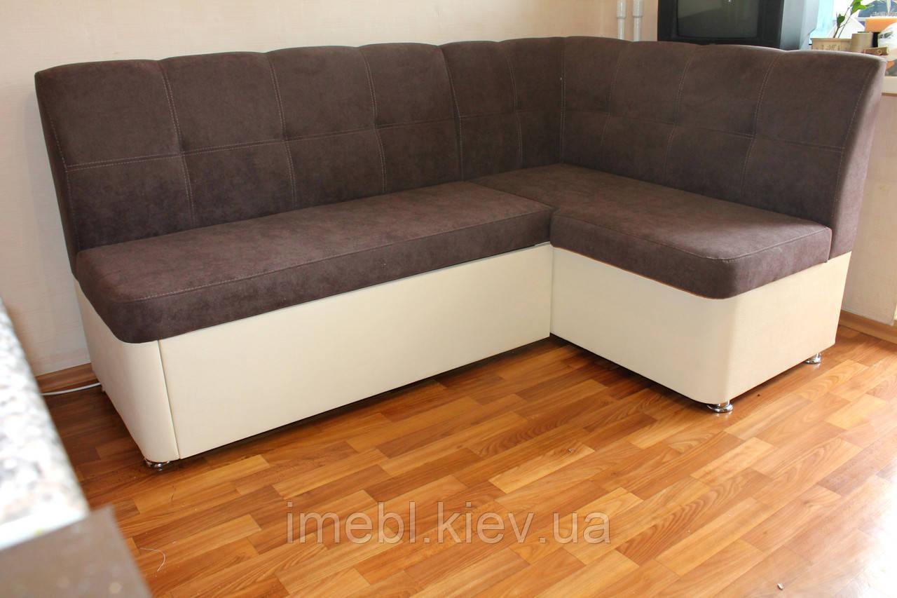 Уголок на кухню со спальным местом и нишей (Коричневая ткань)