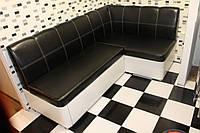 Мягкий кухонный уголок со спальным местом (Черно-белый)