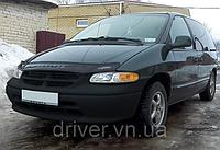 Дефлектор капота (мухобойка) Dodge Caravan III 1995-2001, на крепежах