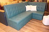 Угловой диван на кухню обшитый кож замом голубого цвета