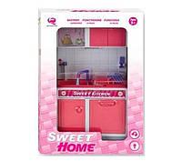 Кукольная кухня Современный дом с мойкой (розовая), QunFengToys