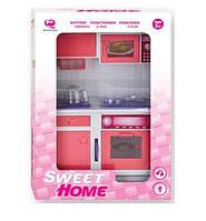 Кукольная кухня Современный дом с плитой, розовая, QunFengToys