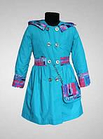 Детское пальто/плащ, для девочки, демисезонное, на синтепоне, с капюшоном и сумочкой