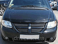 Дефлектор капота (мухобойка) Dodge Caravan IV 2001-2008, на крепежах
