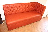 Кухонный мягкий диванчик с пуговичной спинкой и спальным местом ( Красный )