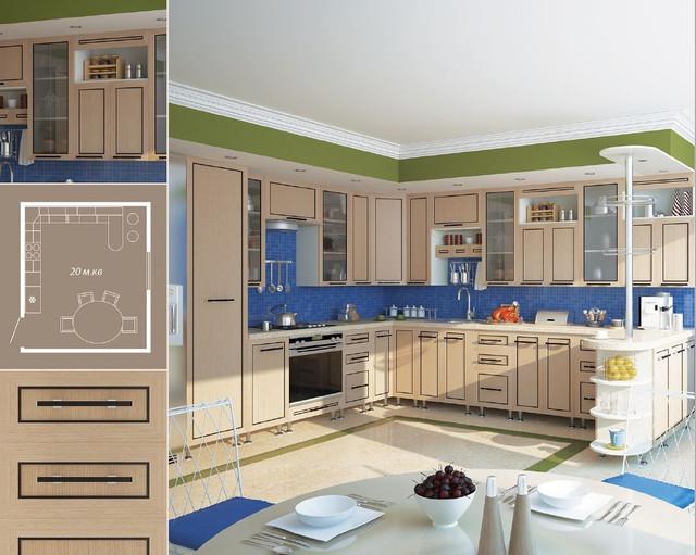 Кухня София Плаза (венге светлое, схема)