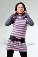 Платье - туника в полоску Trikobakh серо - розового цвета T661-5