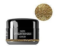 Глиттерный гель Naomi UV Glitter Gel Gold, 5 г.