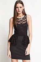 Распродажа. Черное платье с гипюром и оригинальными вырезами на спине L2689