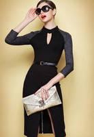 Платье Victoria Beckham черно серой расцветки с молнией сзади KM70543