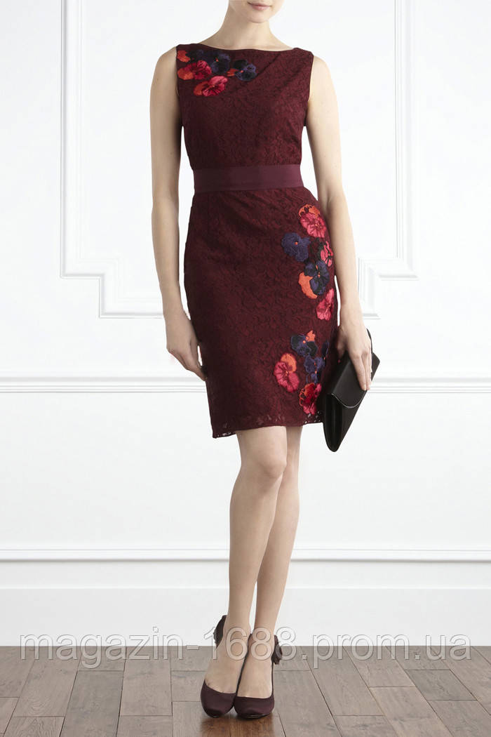 ae5a70015f7 Гипюровое платье Karen Millen винного цвета KM70495 - 1688.com.ua в Одессе