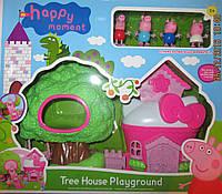 Розовый домик и домик на дереве