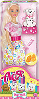 Прогулка с собачкой, набор с куклой 28 см, блондинка розово-белом платье, Ася