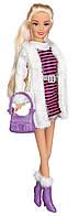 Городской стиль, набор с куклой 28 см, блондинка в полосатом платье, Ася