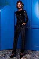 Велюровый черный костюм Надин Jadone  42-50  размеры
