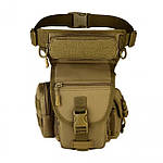 Армейская поясная набедренная сумка 2 в 1 коричневая