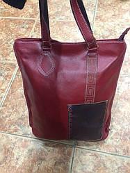 Красная сумка с синим кармашком. Натуральная кожа, очень мягкая) Размеры 40*33*11. АК 4104