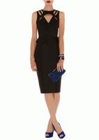 Деловое черное платье Karen Millen с оригинальными вырезами KM70032