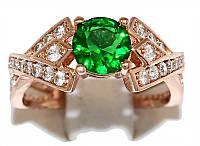 Кольцо фирмы Xuping. Камни: белый и зелёный циркон. Цвет: позолота с красным оттенком.  Есть 16 р.  17 р. 18 р