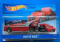 Грузовик-трейлер Hot Wheels и машина Rock N Race BDW51