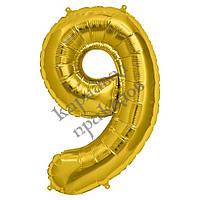 Шарик Цифра (45см) золото 9
