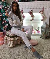 Красивый женский домашний костюм с бубонами мех(кролик),ткань велюр, цвет белый