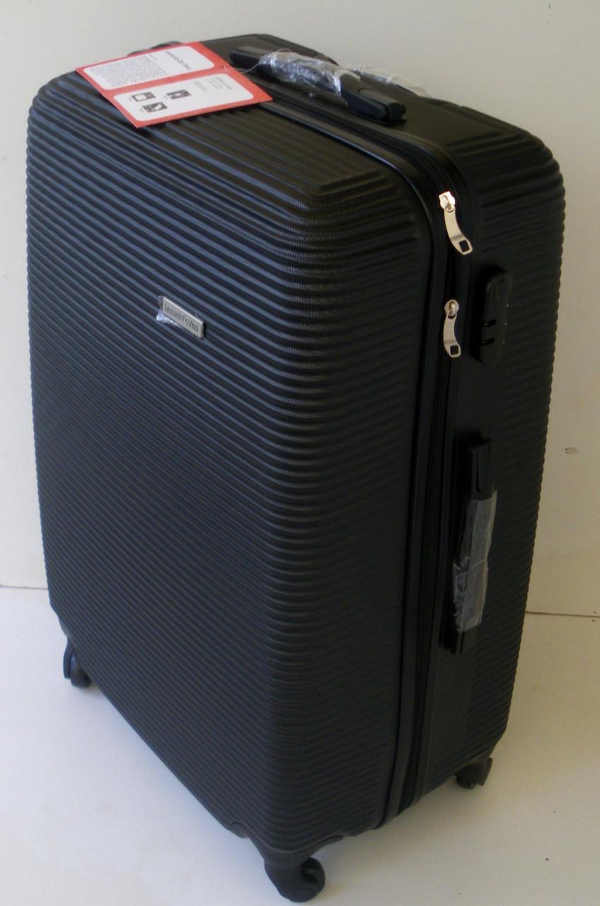 Чемодан дорожный пластиковый  на колесах, средний, черный - рифленый ... 2d89cb483d1