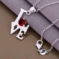 Серебряный кулон Love лове любовь на цепочке серебро 925 с красным камнем покрытие серебро 925