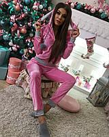 Красивый женский домашний костюм с бубонами мех(кролик),ткань велюр, цвет розовый