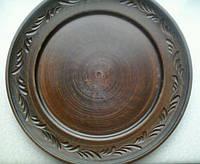 Глиняная тарелка с рантом и  резьбой 20 см (посуда из глины)