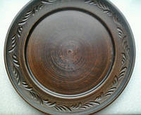 Керамическая тарелка с рантом и  резьбой 25 см (глиняная посуда)