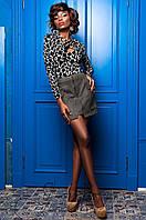 Замшевая  юбка Норди хаки Jadone 42-50 размеры