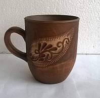 Чашка из красной глины с узором ангоб, без глазури 250 мл