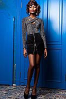 Замшевая черная юбка Норди  Jadone 42-50 размеры