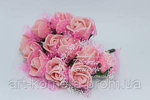 Роза из фома с фатином персиковая (цена за 12 цветков)