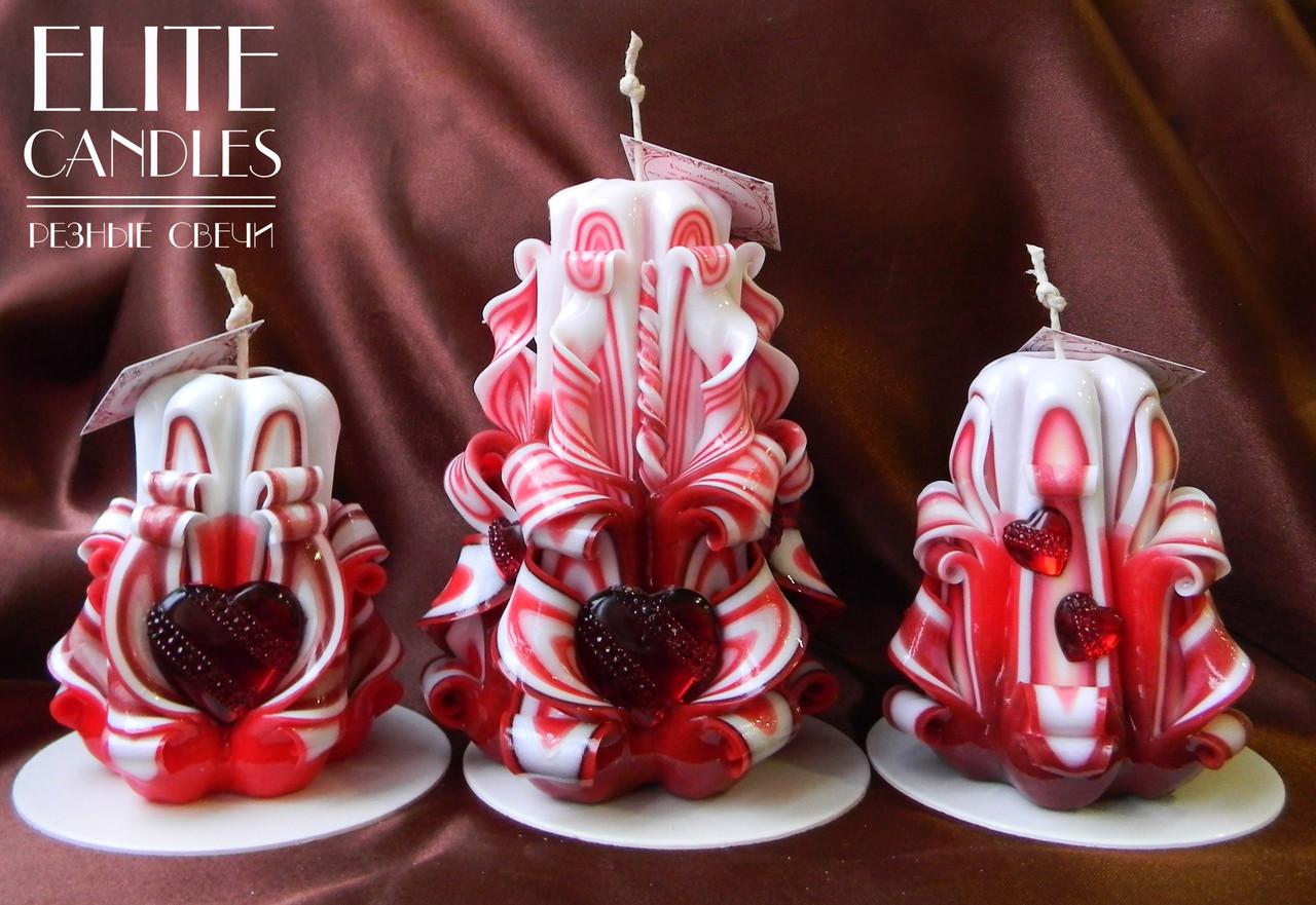 Свечи для романтики Сердце Любви. В комплекте 3 свечи для создания приятной романтической обстановки