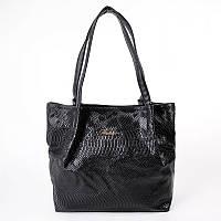 Мягкая большая сумка в черном питоне