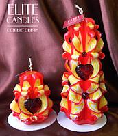Свічки для романтика Серце. Набір різьблених свічок ручної роботи червоно-жовтого кольору