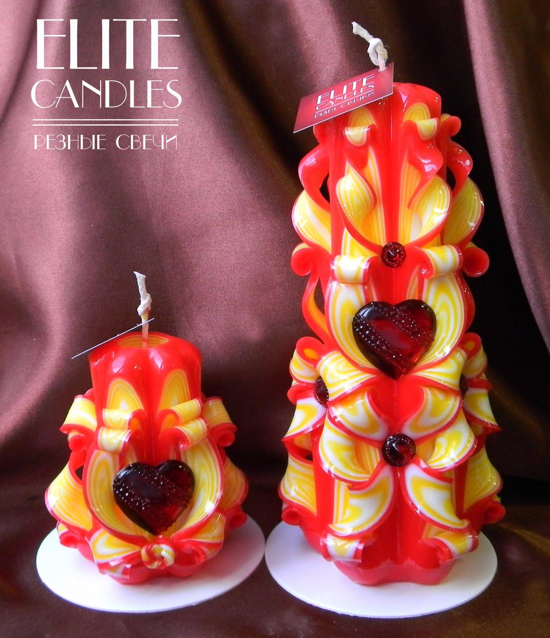 Свечи для романтика Сердце. Набор резных свечей ручной работы красно-желтой расцветки