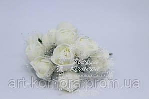 Роза из фома с фатином молочная, 2 см (цена за 12 цветков)