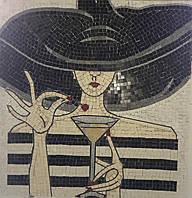 "Картина из мраморной мозаики ""Девушка с коктейлем"""